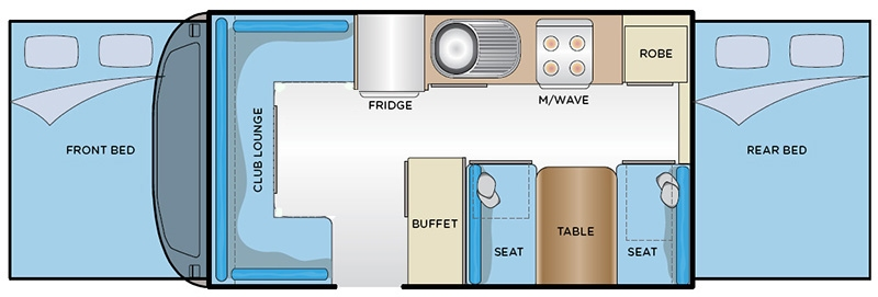 Hattie's floorplan, showing sleeping, living and cooking arrangements.