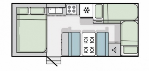 Kenneth's floor plan, showing the arrangement of sleeping, living and cooking areas