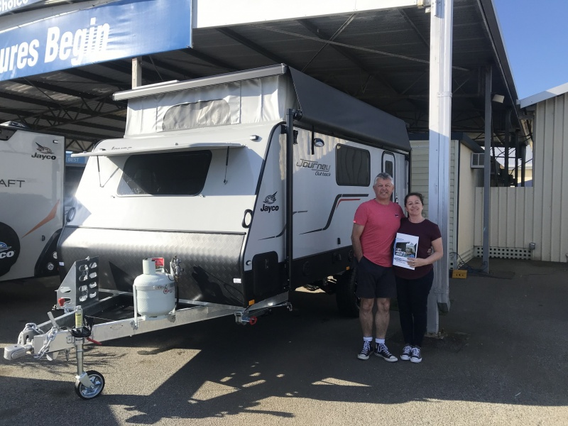 Picture of Nick and Helen with Joan - the Jayco Journey Caravan