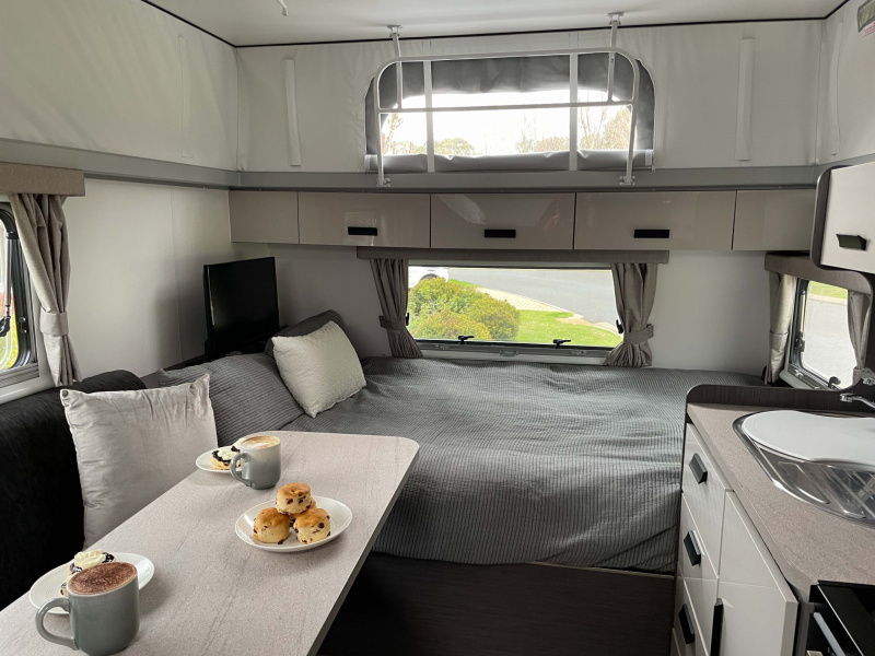 Joan's double bed and dinette